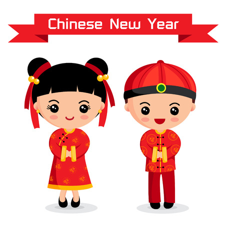 chinese art: Cartoon of Chinese Boy   Girl, chinese New Year Illustration