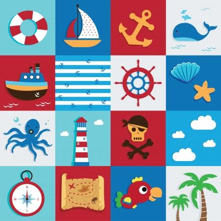 sea animal: Nautical and Sea Set, maritime icon, pirate