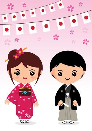 日本の伝統的な衣装、着物、日本の漫画  イラスト・ベクター素材