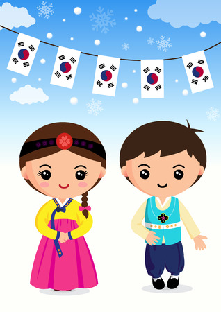 韓国の伝統的な衣装、男の子と女の子、漫画、アジア  イラスト・ベクター素材