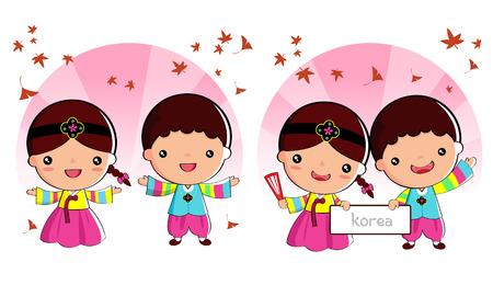 Koreaanse traditionele kostuum Jongens en meisjes, cartoon, aziatisch Stock Illustratie