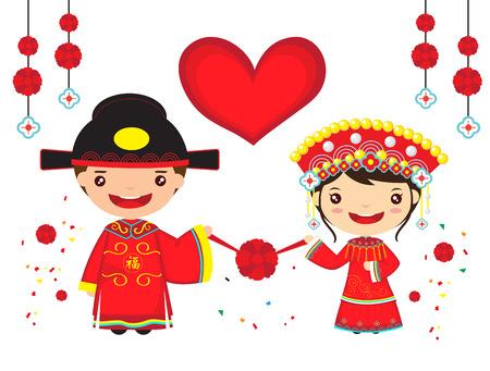 従来の中国のカップル結婚式の衣装は、漫画の中国の新年