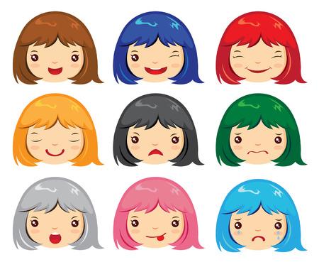 Set of cartoon face emotions girl