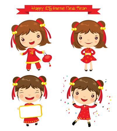 chinese dress: Cartoon Chinese Girl, Happy Chinese New Year Illustration