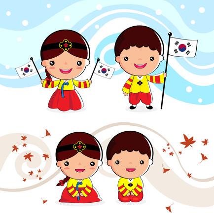 Koreaanse traditionele kostuum Jongens en meisjes, cartoon, aziatische Stock Illustratie