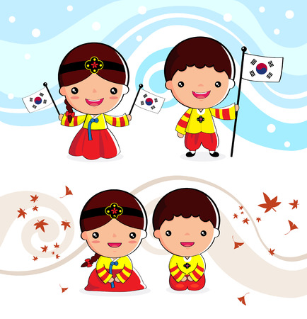 Korean traditional costume Boys and girls, cartoon, asian Çizim