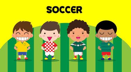 Character design met voetballers, cartoon Stock Illustratie