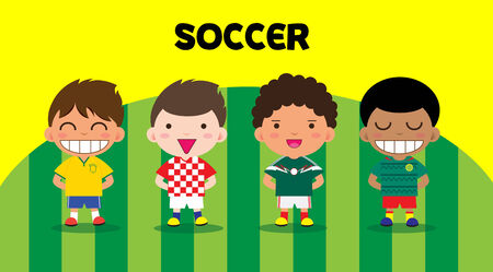 Character design with soccer players, cartoon