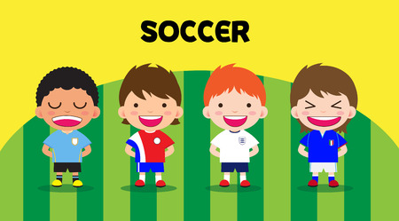 Character design with soccer players, set cartoon