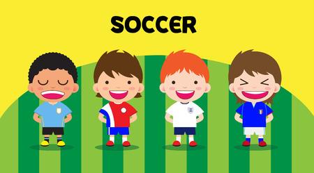 futbol soccer dibujos: Diseño de personajes con los jugadores de fútbol, ??ajuste de dibujos animados Vectores