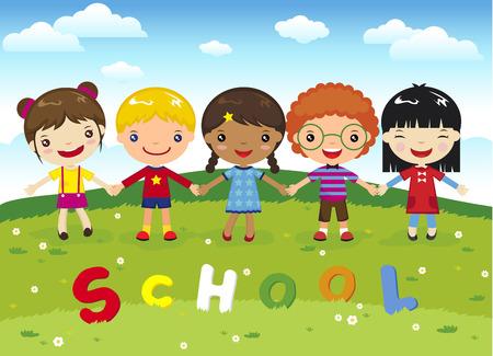 niños jugando caricatura: Cartoon escuela de niños felices en la hierba
