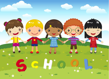 children playing cartoon: Cartoon happy kids school on grass