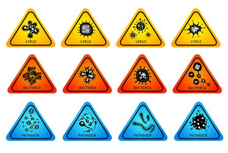 monsters virus bacteriën icon set - vector illustratie Stock Illustratie