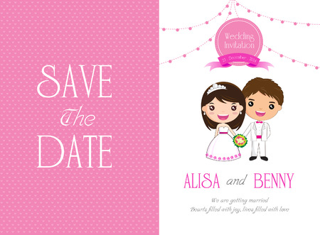 Wedding Invitation Template Cartoon - vector illustration