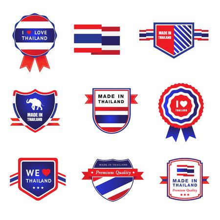 Collectie gemaakt in thailand label, ik houd van thailand sticker symbool element ontwerp Stock Illustratie