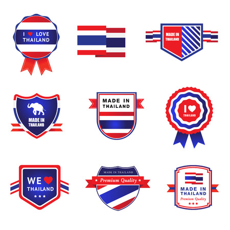 Collection made in thailand label, i love thailand sticker symbol element design