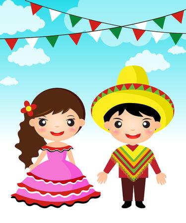 niños bailando: Pareja mexicana de dibujos animados traje tradicional muchacha del muchacho