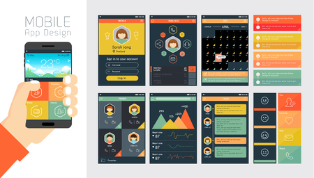 携帯電話のアプリとウェブサイトのデザインのテンプレート