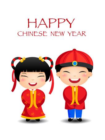 bambini cinesi: Cartoon cinese capretti della ragazza del ragazzo, felice anno nuovo cinese