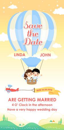 bruiloft uitnodiging kaart sjabloon ontwerp vector, cartoon bruidspaar vliegen in een luchtballon