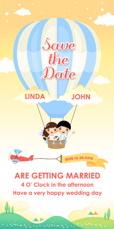 wedding invitation card template design vector, cartoon wedding couple flying in a air balloon