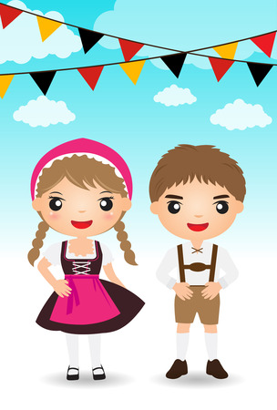 cultural history: german couple traditional costume cartoon boy girl.