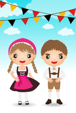 young boy smiling: german couple traditional costume cartoon boy girl.
