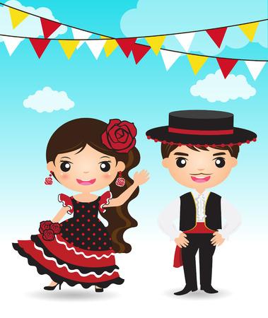 bailando flamenco: bailarina de flamenco hombre mujer española pareja de dibujos animados traje tradicional