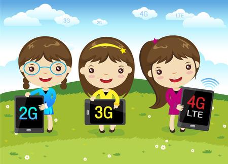 cartoon meisje met mobiele telefoon