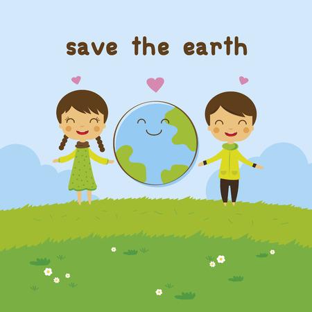 만화 어린이 절약 지구 생태 개념 일러스트