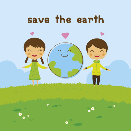 cartoon Kids Saving the Earth ecology concept Çizim