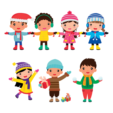 漫画の子供の冬の男の子と女の子のグループ