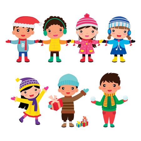 어린이 겨울 소년과 소녀의 만화 그룹