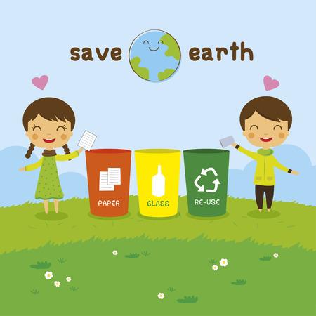 niños reciclando: dibujos animados salvar la Tierra, muchacho Reciclaje y niña, el concepto de ecología Vectores