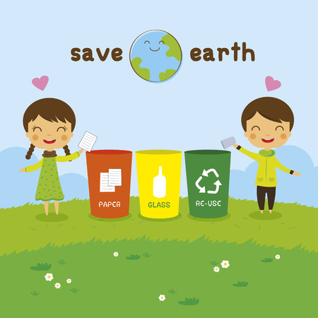 cartoon Saving the Earth, Recycling boy and girl, ecology concept Vettoriali