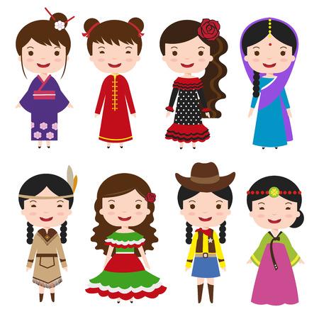世界の伝統的な衣装の文字が異なる民族衣装で女の子をドレスアップします。