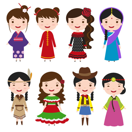 cowboy cartoon: traditional costumes character of the world dress girls in different national costumes