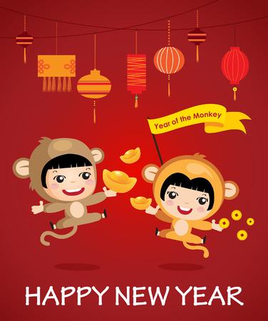personas saludandose: Feliz a�o nuevo del personaje de dibujos animados mono dise�o de la muchacha del muchacho feliz a�o nuevo chino Vectores