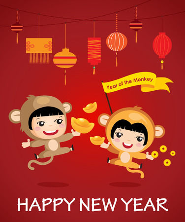 greeting people: Happy new year of the monkey character design cartoon boy girl Happy chinese new year Illustration
