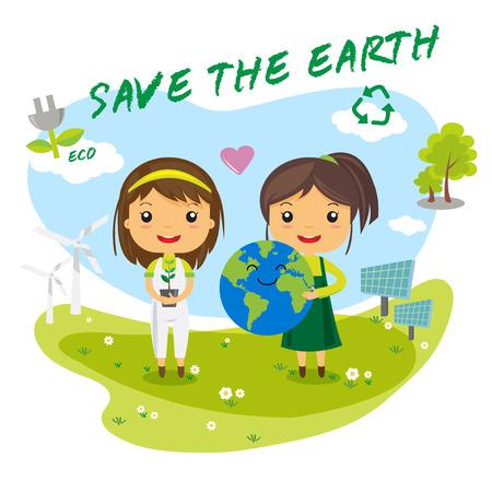 kinderen: Red de aarde, sparen de wereld ecologie concept, stripfiguur