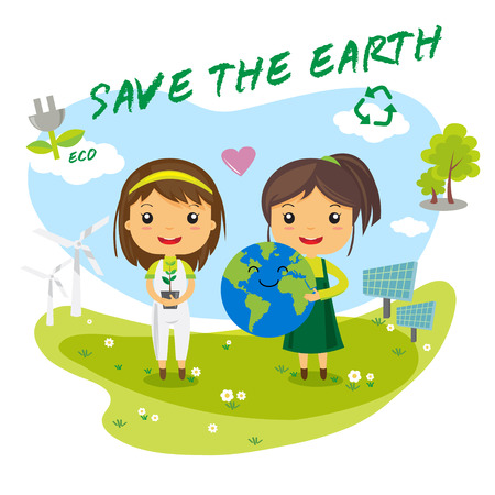 Save the Earth, save the world ecology concept, cartoon character