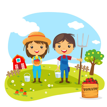 Los agricultores de la historieta que trabaja en granjas, personajes jardinero, Granja fresca Foto de archivo - 41979353