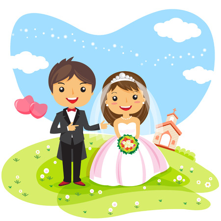 cartoon wedding Invitation couple, cute character design - vector illustration Çizim