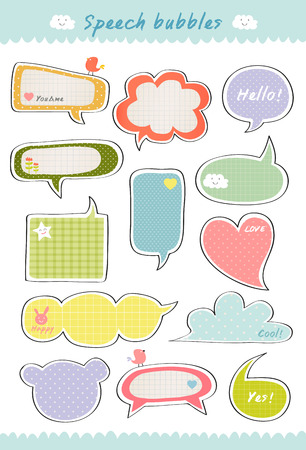 message box: cute speech bubble, hand drawn speaking bubbles colorful collection, text box template