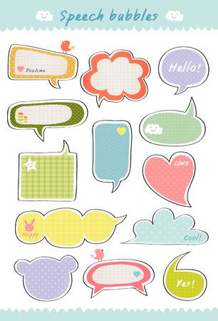 lindo: hablar de burbuja, dibujado mano linda burbujas colecci�n colorido, plantilla de la caja de texto