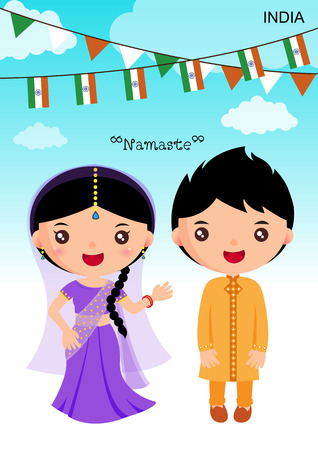 vectors: india traditional costume, asian, character boy girl