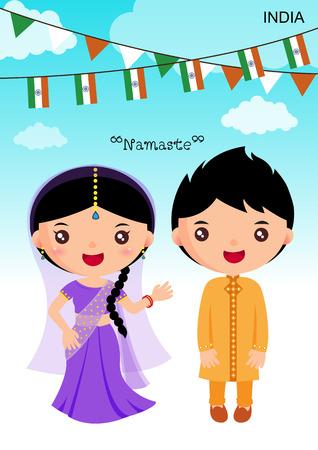kid vector: india traje tradicional, asi�tico, car�cter muchacha del muchacho