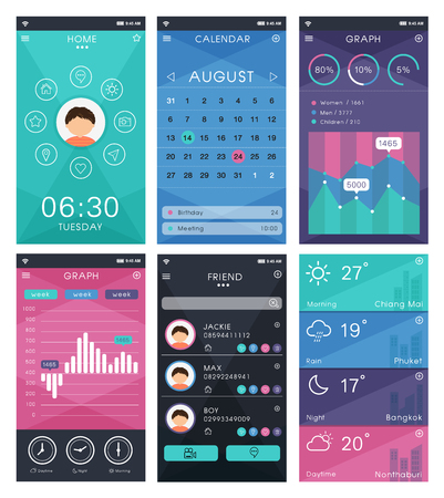 emplate mobile app interface design, Set of flat design elements vector Çizim