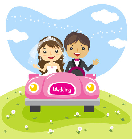 carro caricatura: par de la boda en un coche, dibujo animado casó diseño de personajes - ilustración vectorial