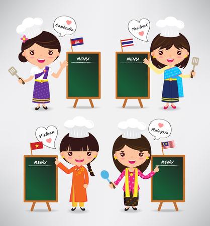 chef caricatura: de dibujos animados chefs carácter internacional - vector Ilustración